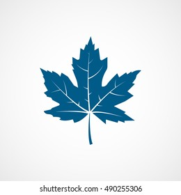 Maple Leaf Blue Flat Icon On White Background