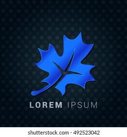 Maple Leaf Blue metallic chromium precious Icon / Logo Design
