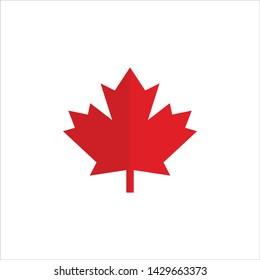 Maple leaf for Canada flag, Maple symbol, Vector illustration of maple leaf Canada flag on white background.
