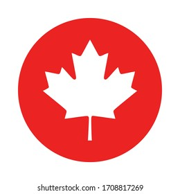 Maple leaf and circle on white