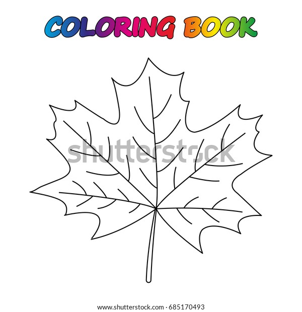 Maple Leaf Coloring Book Coloring Page Stock Vector (Royalty ...