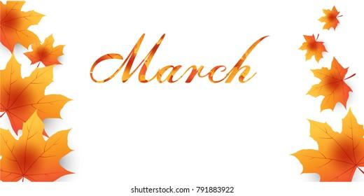 maple leaf falling.march word