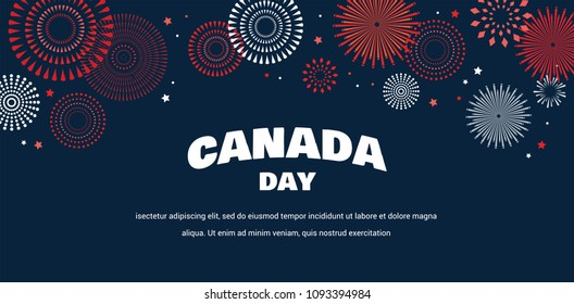 Maple leaf with firework poster for celebrate the national day of Canada. Happy Canada Day card. Canada flag, fireworks, red maple leaf. vector illustration