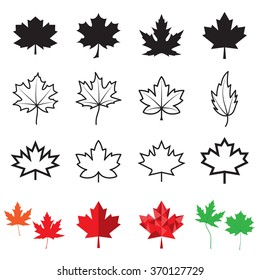 Maple leaf icons. Vector illustration