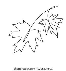 Maple leaf line art. Contour drawing. Minimalism art. Modern decor.