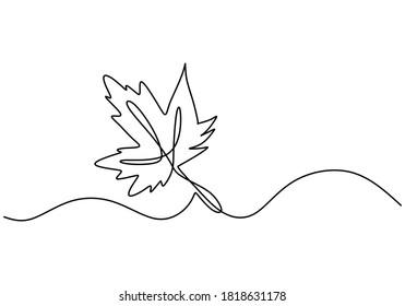 Ahornblattlinien-Kunst. Eine durchgehende Zeichnung abstrakter tropischer Feder einzeln auf weißem Hintergrund. Naturökologisches Konzept. Der Herbst verlässt handgezeichnete minimalistische Designstil