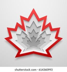 Maple leaf paper art shape. Canadian symbol vector illustration. Concept design for cards, posters, flyers, stickers.