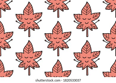 Maple leaf seamless pattern isolated on white background. For your fabric, textile design, wrapping paper or wallpaper. . Cute cartoon red autumnal garden leaf, fall leaf and fallen dry leaves.