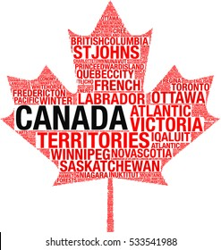 Maple leaf silhouette Canada flag detail tag cloud illustration