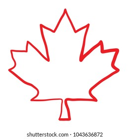 A maple leaf that looks like it has been hand drawn with a marker in vector format.