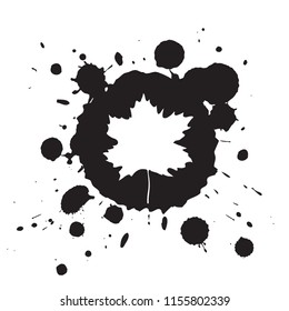 Maple leaf. Vector autumn background with white leaf on black ink blobs