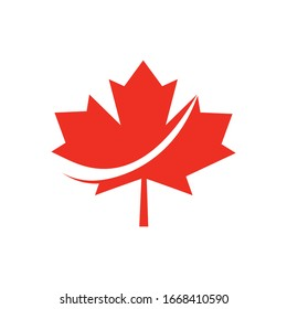 Maple leaf vector icon, Canadian Maple leaf Logo isolated on white