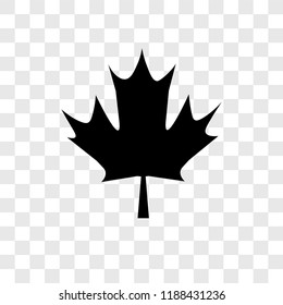 Maple leaf vector icon isolated on transparent background, Maple leaf transparency logo concept