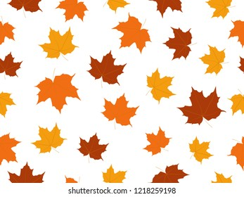 Maple leaves seamless pattern isolated on white background