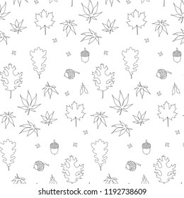 Maple, oak, japanese maple leaves, fruits monochrome seamless background, Lorem Ipsum with black outlines, design element stock vector illustration for web, for print