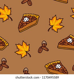 Maple pecan pie seamless pattern