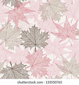 Maple seamless pattern, tender baby background