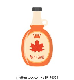 Maple syrup. Ingredient for waffles, pancakes, breakfast. Tasty flavor food. Cartoon flat style.