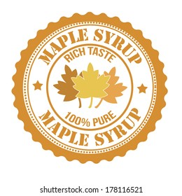 Maple syrup stamp or label on white, vector illustration