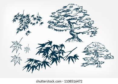 maple tree leaves  branches sketch vector japanese illustration ink design elements