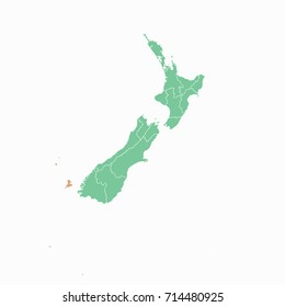 Map-New Zealand map. Each city and border has separately. Vector illustration eps 10.