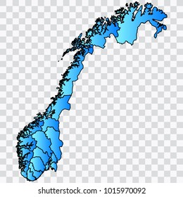 Map-Norway map. Each city and border has separately. Bluish blue. Vector illustration Eps 10.