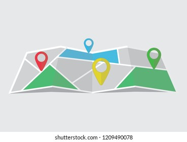 Mapping and map pin cartoon illustrator design.