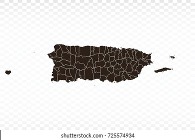 Map-Puerto Rico map. Each city and border has separately. Vector illustration eps 10.
