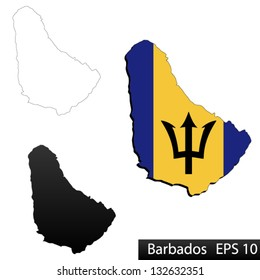 Maps of Barbados, 3 dimensional with flag clipped inside borders,and shadow, and black and white contours of country shape, vector