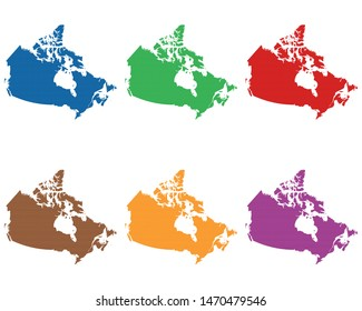 Maps of Canada on cloth with stitches