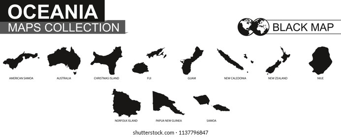 Maps collection countries of Oceania, black contour maps of Oceania. Vector set.