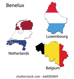 Maps of the countries of the Benelux region with flags