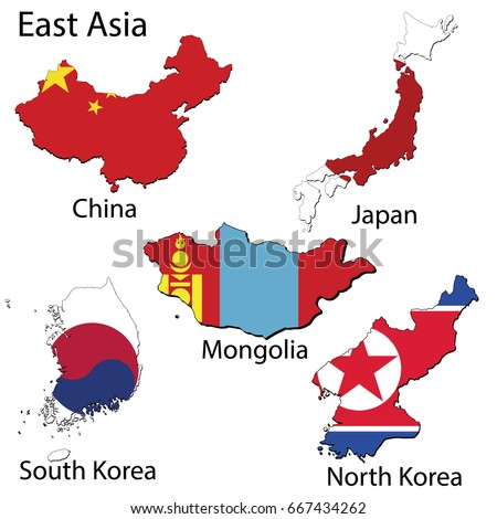 Maps Countries East Asia Region Flags Stock Vector Royalty Free