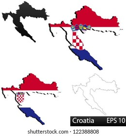 Maps of Croatia, 3 dimensional with flag clipped inside borders,and shadow, and black and white contours of country shape, vector