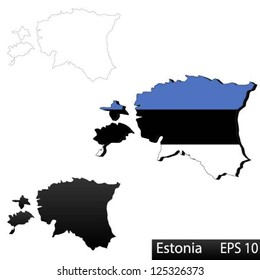Maps of Estonia, 3 dimensional with flag clipped inside borders,and shadow, and black and white contours of country shape, vector