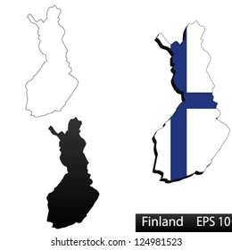 Maps of Finland, 3 dimensional with flag clipped inside borders,and shadow, and black and white contours of country shape, vector
