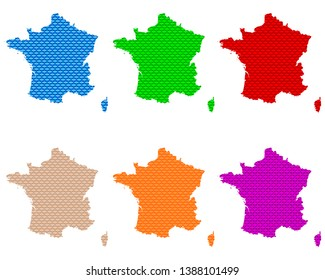 Maps of France coarse meshed