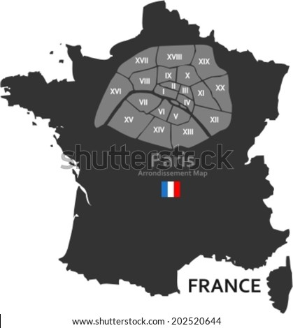 Maps France Paris Districts Stock Vector (Royalty Free) 202520644 ...