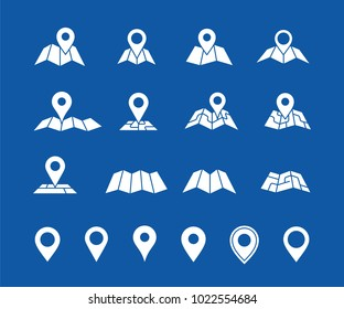 Maps and geo pins. Make your own custom location pin icon for app or contact web page. Map with pin symbol vector icons. Navigation and route concept illustration