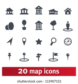 Maps icons: vector set of places, pins and directions