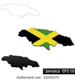 Maps of Jamaica, 3 dimensional with flag clipped inside borders,and shadow, and black and white contours of country shape, vector