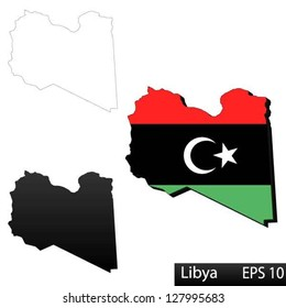 Maps of Libya, 3 dimensional with flag clipped inside borders,and shadow, and black and white contours of country shape, vector