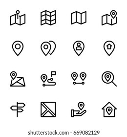 Maps and location icon set