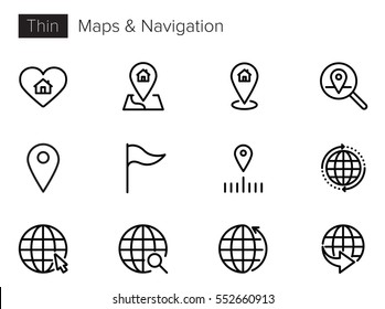 Maps and Navigation Interface Line Vector icons set