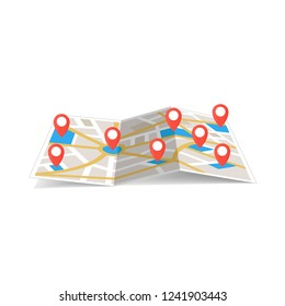 maps navigation with red and blue color point markers and compass design background, vector illustration