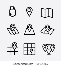 Maps Pin icon. Navigation icons set. Brochure map