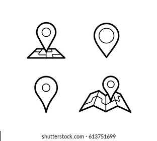 Maps and pins vector icons. Make your own custom location pin icon. Navigation and route concept illustration. Vector icon for contact web page