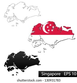 Maps of Singapore, 3 dimensional with flag clipped inside borders,and shadow, and black and white contours of country shape, vector
