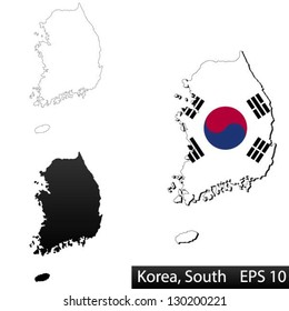Maps of South Korea, 3 dimensional with flag clipped inside borders,and shadow, and black and white contours of country shape, vector
