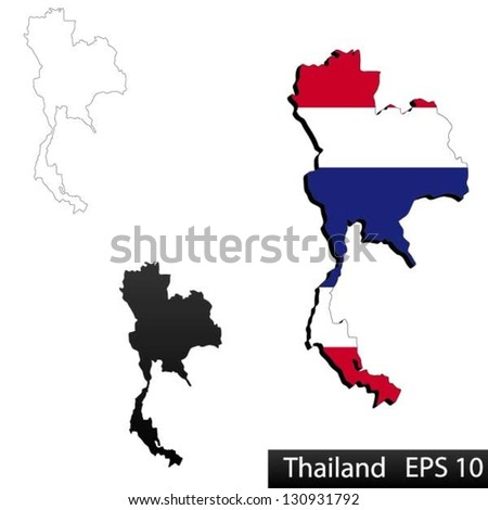 Maps Thailand 3 Dimensional Flag Clipped Stock Vector (Royalty Free ...
